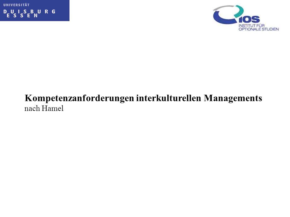 Kompetenzanforderungen interkulturellen Managements nach Hamel
