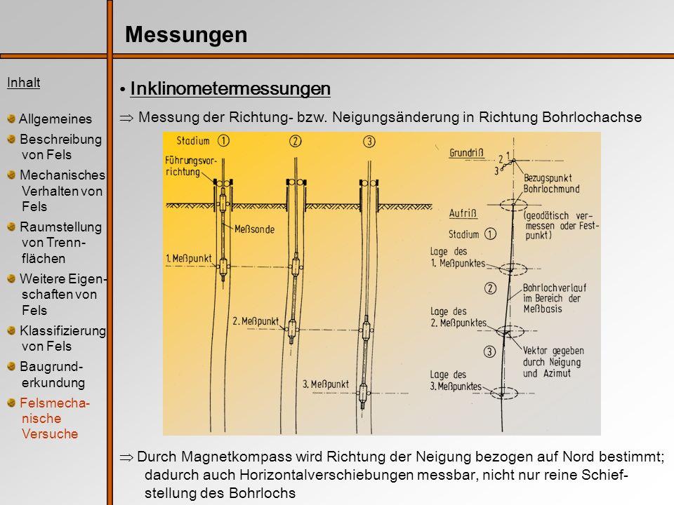 Inhalt Allgemeines Beschreibung von Fels Mechanisches Verhalten von Fels Raumstellung von Trenn- flächen Weitere Eigen- schaften von Fels Klassifizierung von Fels Baugrund- erkundung Felsmecha- nische Versuche Messungen Inklinometermessungen Messung der Richtung- bzw.