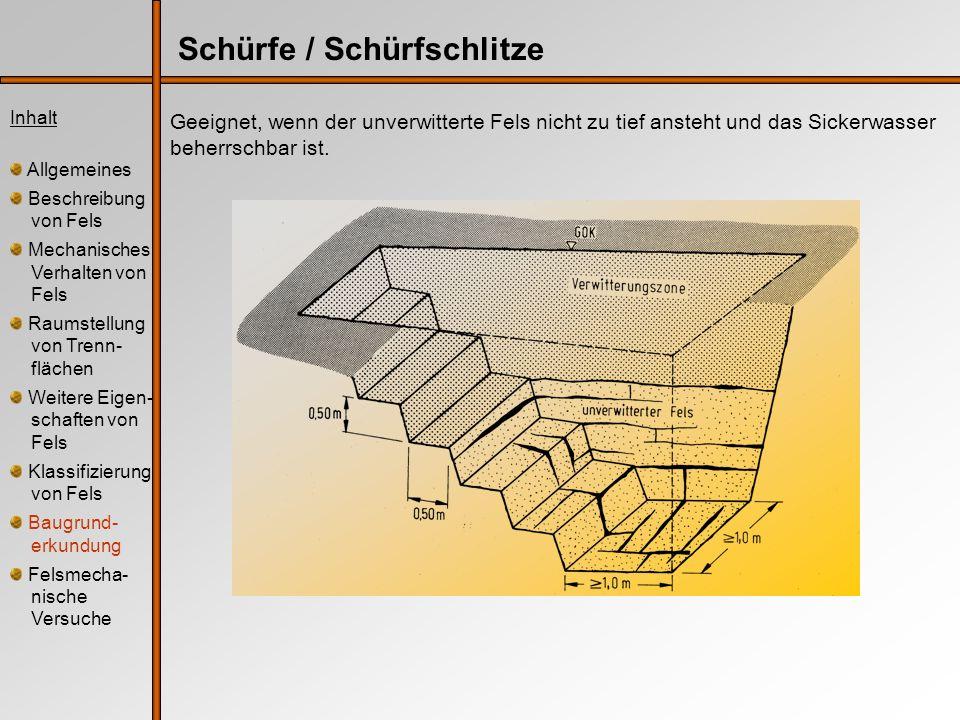 VersuchsartAusführung nachKenngrößen Versuchs- bereich Anwendung Bohrlochauf- weitungsversuch (Di- latometerversuch) DGGT, Empfehlung Nr.