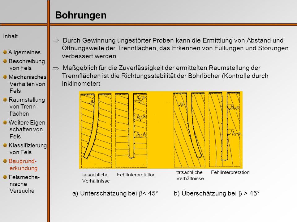 Inhalt Allgemeines Beschreibung von Fels Mechanisches Verhalten von Fels Raumstellung von Trenn- flächen Weitere Eigen- schaften von Fels Klassifizierung von Fels Baugrund- erkundung Felsmecha- nische Versuche Versuche zur Verformbarkeit Bohrlochaufweitungsversuch Aufbringen eines Innendrucks über eine Bohrlochsonde entlang eines bestimmten Bereichs auf die Bohrlochwand Sonde Typ 1:Dilatometer/Pressiometer; Über eine mit Gas oder Flüssigkeit gefüllte Gummimembran wird ein radialsymmetrischer Innendruck aufgebracht Sonde Typ 2:Borehole Jack; diametral angeordnetes Lastplattenpaar wird über hydraulische Pressen an die Bohrlochwand gedrückt Messung der entstehenden Verschiebungen direkt (Typ 2: d) oder indirekt (Typ 1: V)