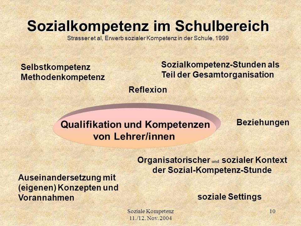 Soziale Kompetenz 11./12. Nov. 2004 10 Sozialkompetenz im Schulbereich Sozialkompetenz im Schulbereich Strasser et al, Erwerb sozialer Kompetenz in de