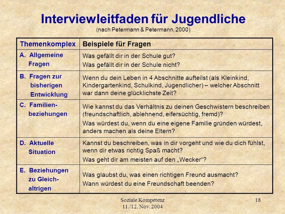 Soziale Kompetenz 11./12. Nov. 2004 18 Interviewleitfaden für Jugendliche (nach Petermann & Petermann, 2000) ThemenkomplexBeispiele für Fragen A. Allg
