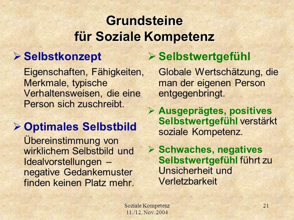 Soziale Kompetenz 11./12. Nov. 2004 21 Grundsteine für Soziale Kompetenz Selbstkonzept Eigenschaften, Fähigkeiten, Merkmale, typische Verhaltensweisen