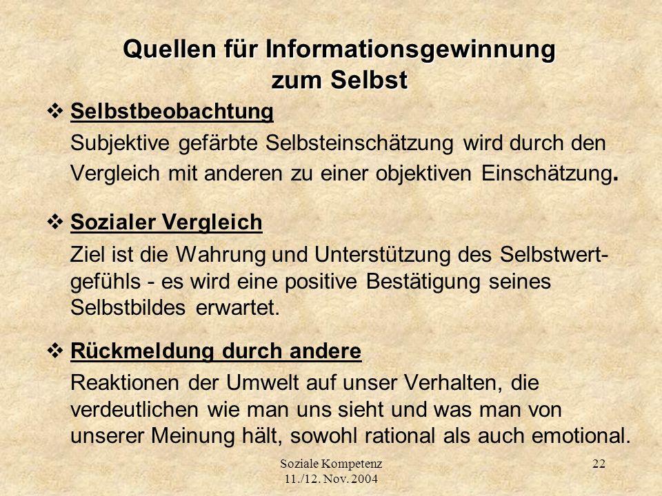 Soziale Kompetenz 11./12. Nov. 2004 22 Quellen für Informationsgewinnung zum Selbst Selbstbeobachtung Subjektive gefärbte Selbsteinschätzung wird durc