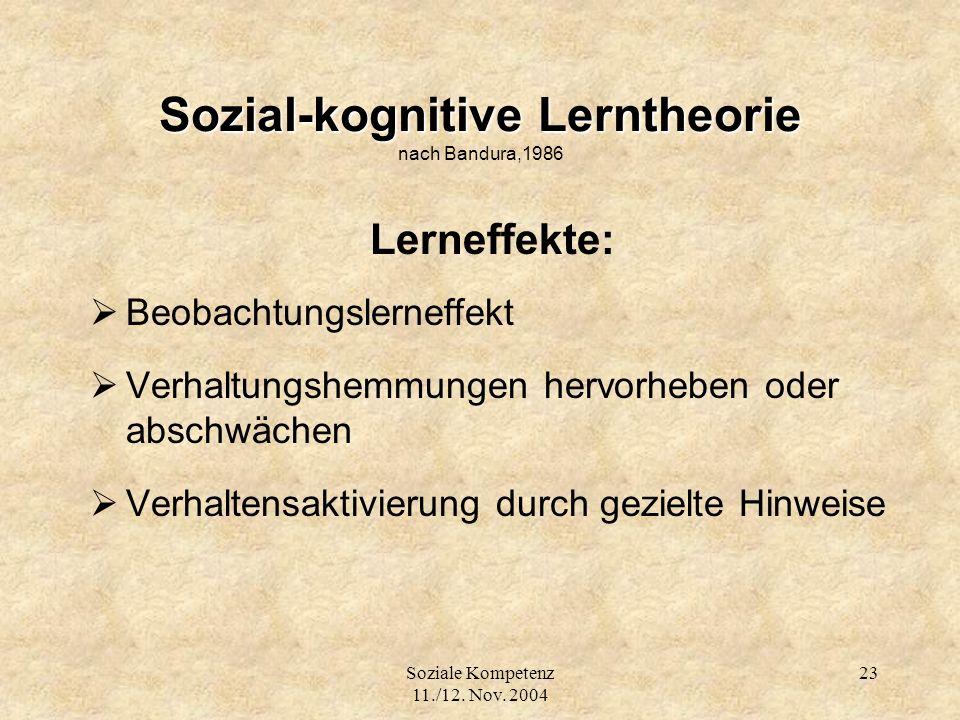 Soziale Kompetenz 11./12. Nov. 2004 23 Sozial-kognitive Lerntheorie Sozial-kognitive Lerntheorie nach Bandura,1986 Lerneffekte: Beobachtungslerneffekt