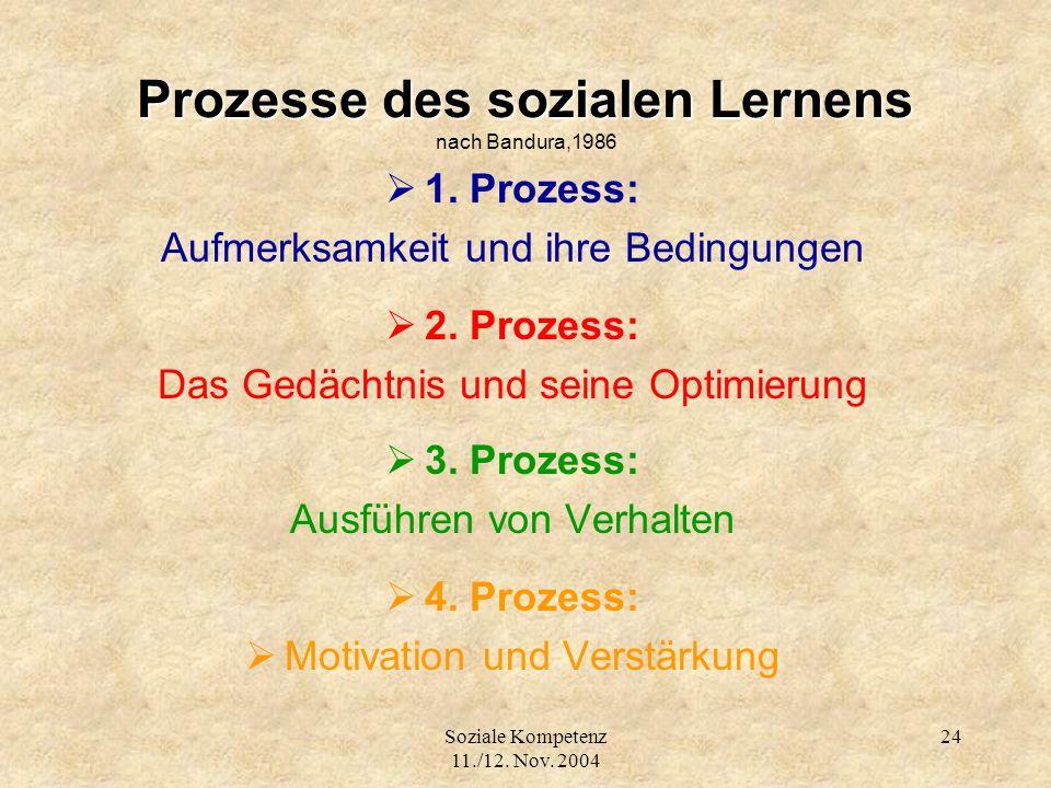 Soziale Kompetenz 11./12. Nov. 2004 24 Prozesse des sozialen Lernens Prozesse des sozialen Lernens nach Bandura,1986 1. Prozess: Aufmerksamkeit und ih