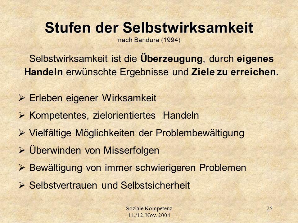 Soziale Kompetenz 11./12. Nov. 2004 25 Stufen der Selbstwirksamkeit Stufen der Selbstwirksamkeit nach Bandura (1994) Selbstwirksamkeit ist die Überzeu