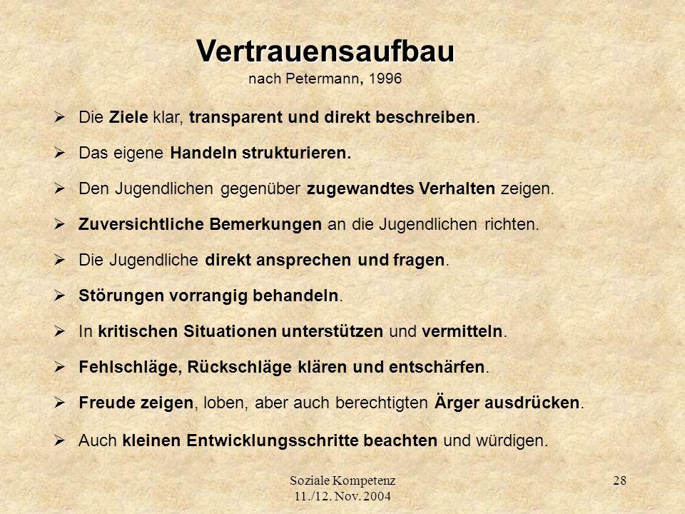 Soziale Kompetenz 11./12. Nov. 2004 28 Vertrauensaufbau nach Petermann, 1996 Die Ziele klar, transparent und direkt beschreiben. Das eigene Handeln st