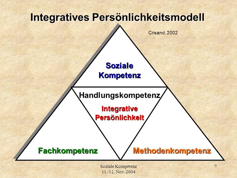 Soziale Kompetenz 11./12. Nov. 2004 7 Integratives Persönlichkeitsmodell Integratives Persönlichkeitsmodell Crisand, 2002 Handlungskompetenz Integrati
