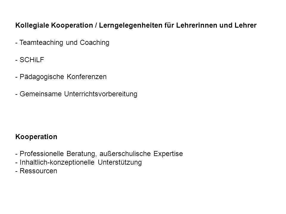 Kollegiale Kooperation / Lerngelegenheiten für Lehrerinnen und Lehrer - Teamteaching und Coaching - SCHiLF - Pädagogische Konferenzen - Gemeinsame Unt