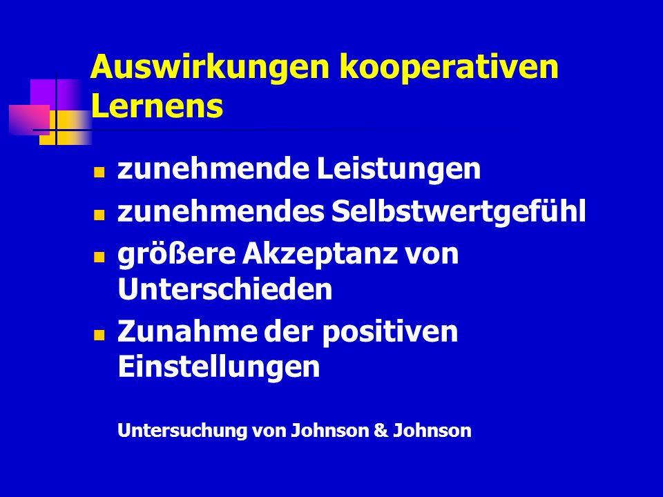 zunehmende Leistungen zunehmendes Selbstwertgefühl größere Akzeptanz von Unterschieden Zunahme der positiven Einstellungen Untersuchung von Johnson &