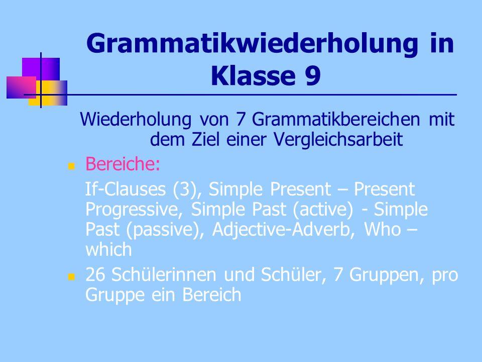 Grammatikwiederholung in Klasse 9 Wiederholung von 7 Grammatikbereichen mit dem Ziel einer Vergleichsarbeit Bereiche: If-Clauses (3), Simple Present –