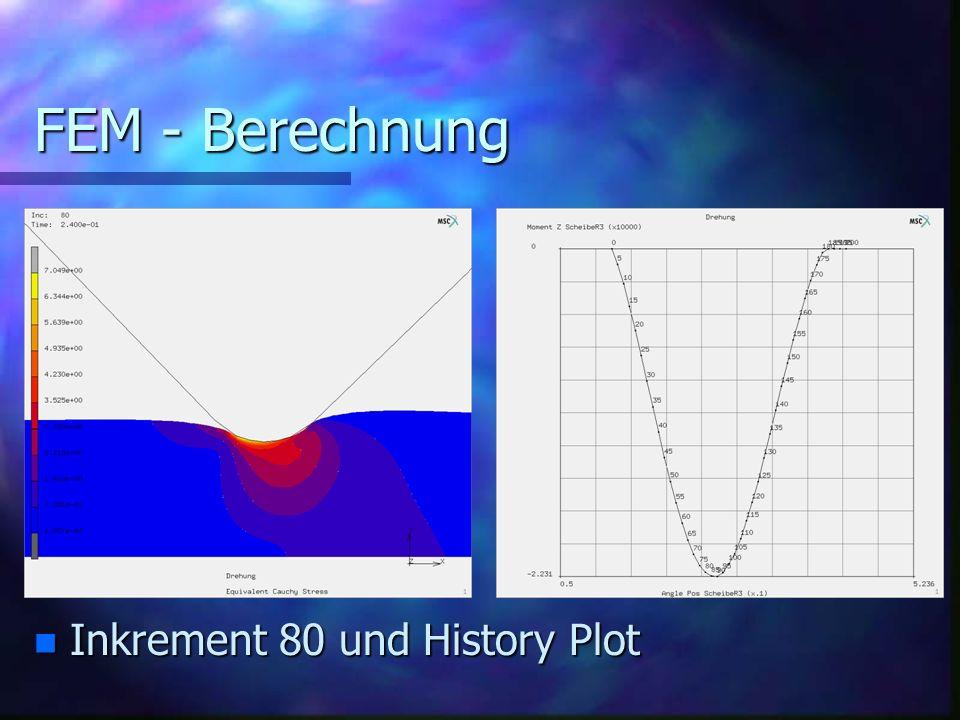 FEM - Berechnung n Inkrement 80 und History Plot