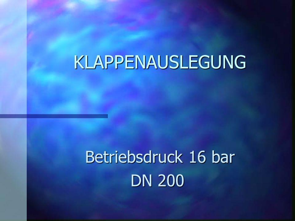 KLAPPENAUSLEGUNG Betriebsdruck 16 bar Betriebsdruck 16 bar DN 200