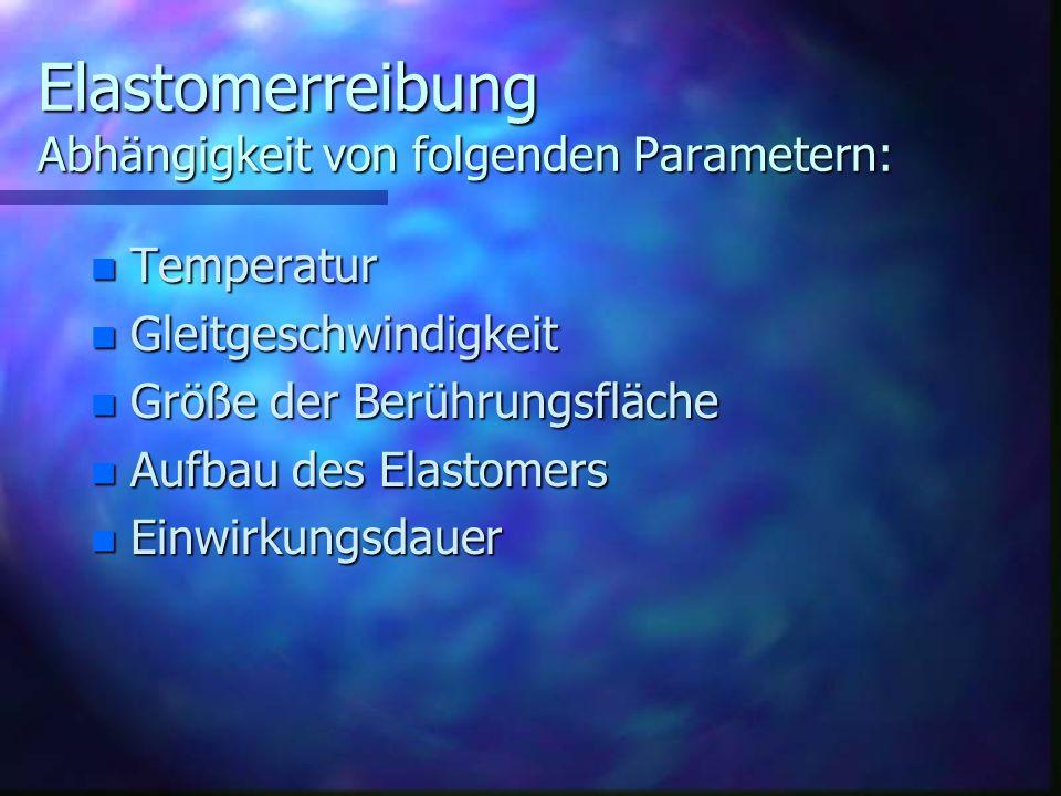 Elastomerreibung Abhängigkeit von folgenden Parametern: n Temperatur n Gleitgeschwindigkeit n Größe der Berührungsfläche n Aufbau des Elastomers n Ein