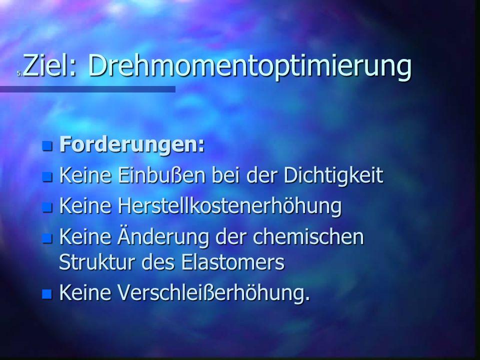 5. Ziel: Drehmomentoptimierung n Forderungen: n Keine Einbußen bei der Dichtigkeit n Keine Herstellkostenerhöhung n Keine Änderung der chemischen Stru