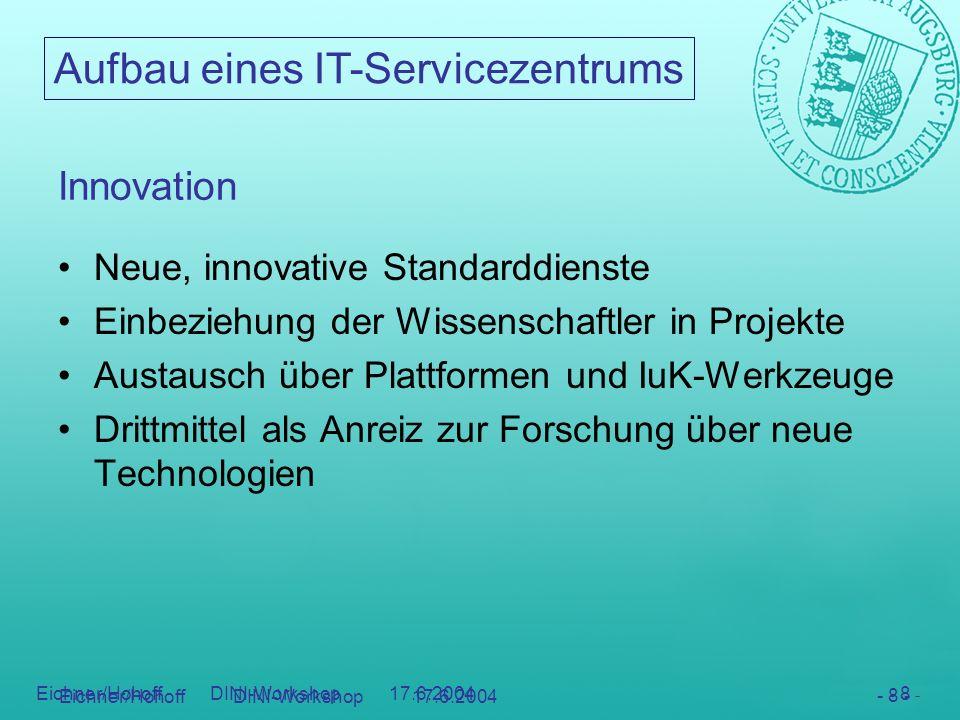 Aufbau eines IT-Servicezentrums - 8 - Eichner/Hohoff DINI-Workshop 17.6.2004 - 8 - Innovation Neue, innovative Standarddienste Einbeziehung der Wissen