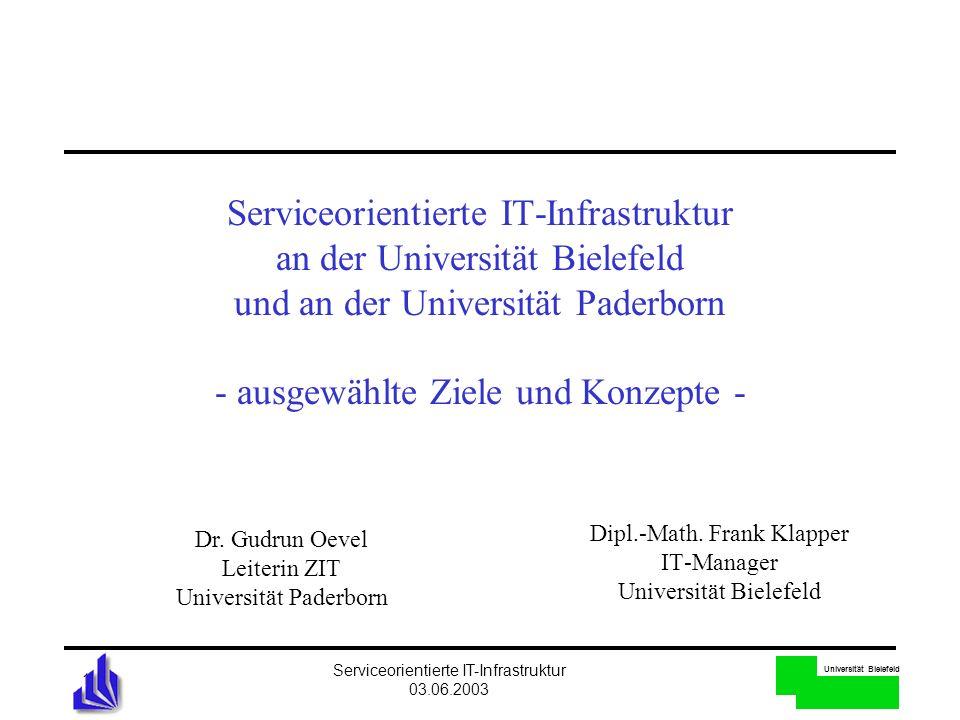 Universität Bielefeld Serviceorientierte IT-Infrastruktur 03.06.2003 1 Serviceorientierte IT-Infrastruktur an der Universität Bielefeld und an der Uni