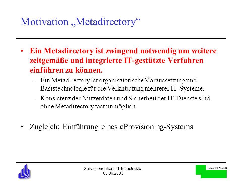 Universität Bielefeld Serviceorientierte IT-Infrastruktur 03.06.2003 11 Motivation Metadirectory Ein Metadirectory ist zwingend notwendig um weitere z