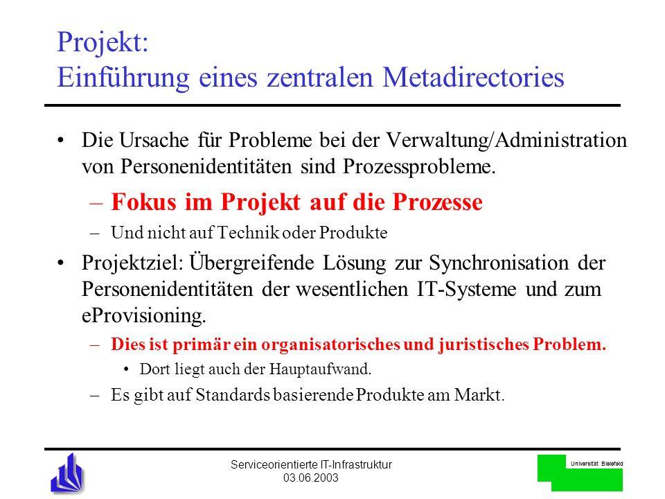 Universität Bielefeld Serviceorientierte IT-Infrastruktur 03.06.2003 13 Projekt: Einführung eines zentralen Metadirectories Die Ursache für Probleme b
