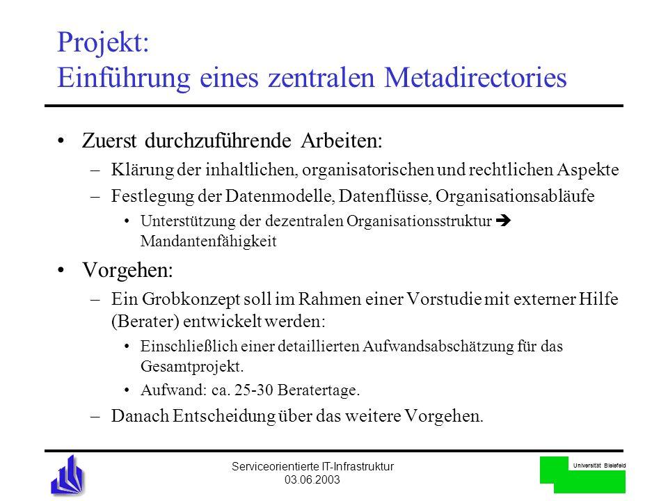 Universität Bielefeld Serviceorientierte IT-Infrastruktur 03.06.2003 14 Projekt: Einführung eines zentralen Metadirectories Zuerst durchzuführende Arb