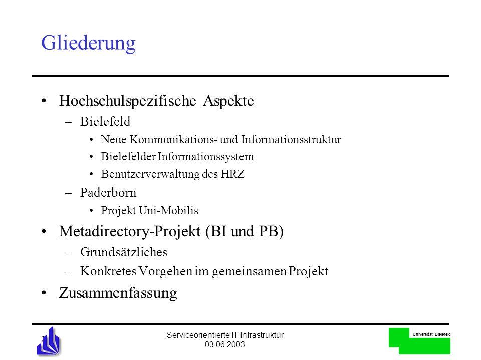 Universität Bielefeld Serviceorientierte IT-Infrastruktur 03.06.2003 2 Gliederung Hochschulspezifische Aspekte –Bielefeld Neue Kommunikations- und Inf