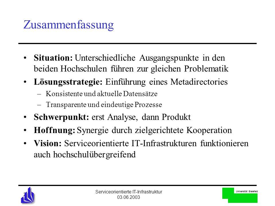 Universität Bielefeld Serviceorientierte IT-Infrastruktur 03.06.2003 21 Zusammenfassung Situation: Unterschiedliche Ausgangspunkte in den beiden Hochs