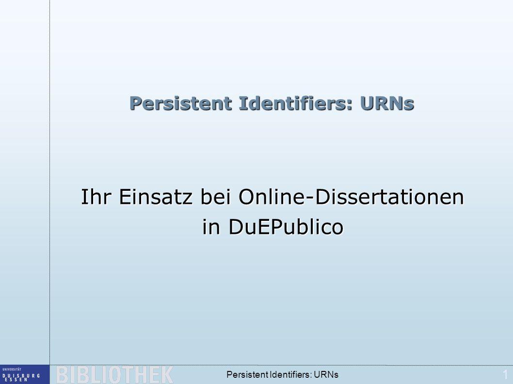 12 Persistent Identifiers: URNs URNs in der UB Duisburg-Essen Bestandteil der Dissertationen Automatisch errechnet auf der Grundlage der Systemzeit zum Zeitpunkt des Einstellens Bestandteil der Metadaten mit Link auf den Resolver Bestandteil der Titelaufnahme in Aleph Feld 552b, leider nicht verlinkt Zusätzlich als URL des Resolvers im Feld 655e
