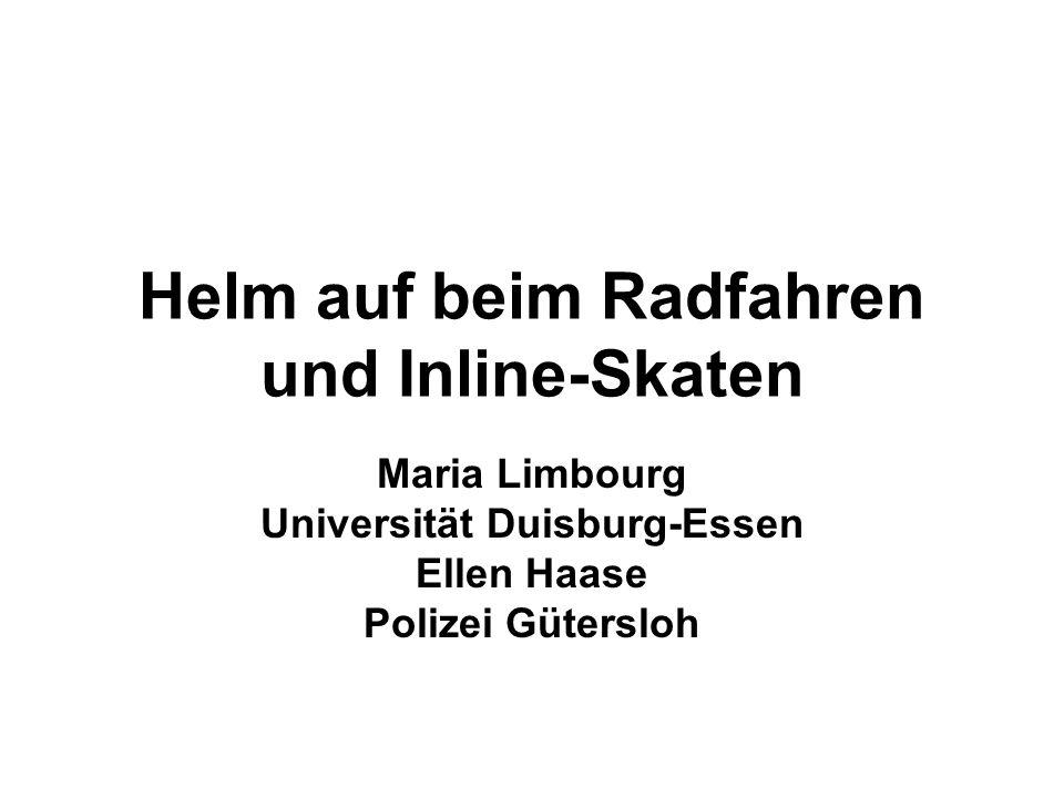 Helm auf beim Radfahren und Inline-Skaten Maria Limbourg Universität Duisburg-Essen Ellen Haase Polizei Gütersloh