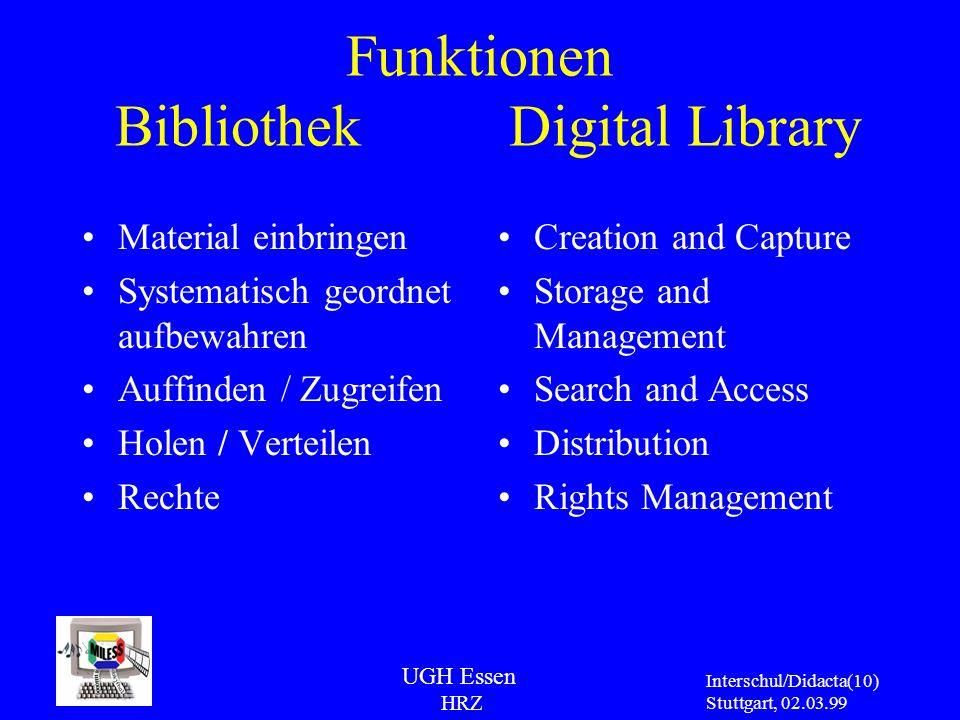 UGH Essen HRZ Interschul/Didacta Stuttgart, 02.03.99 (10) Funktionen Bibliothek Digital Library Material einbringen Systematisch geordnet aufbewahren