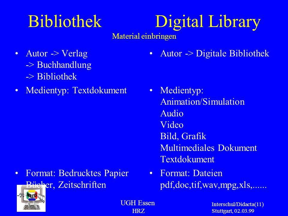 UGH Essen HRZ Interschul/Didacta Stuttgart, 02.03.99 (11) Bibliothek Digital Library Material einbringen Autor -> Verlag -> Buchhandlung -> Bibliothek