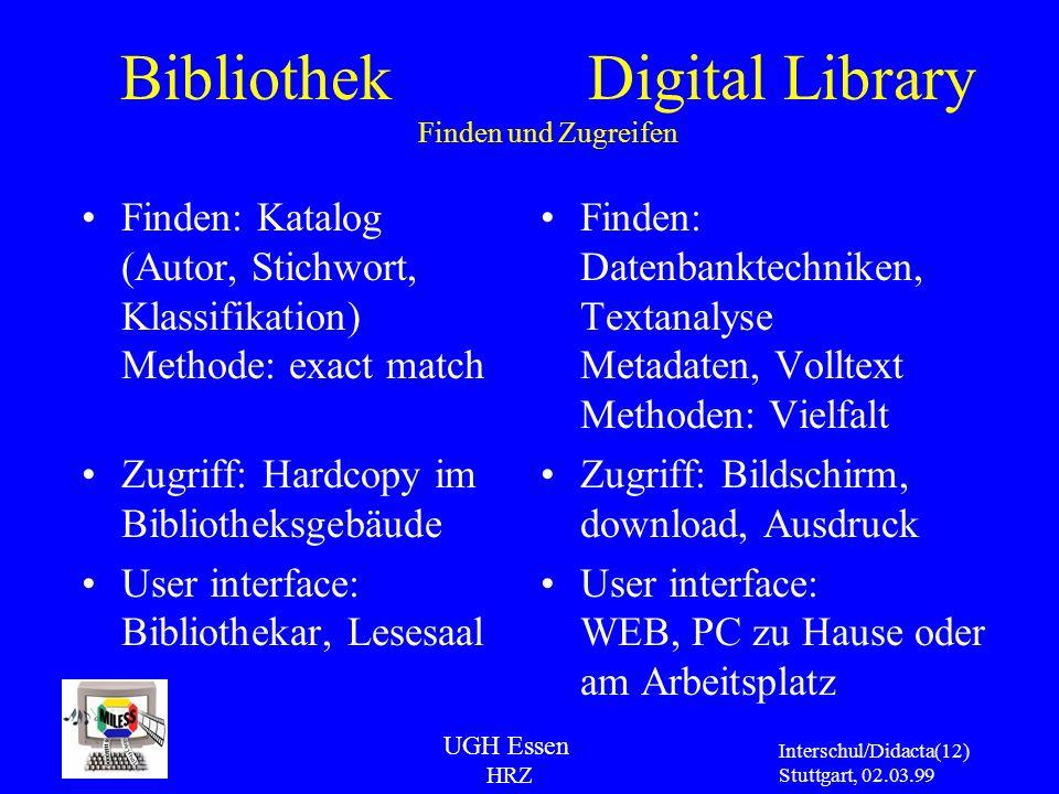 UGH Essen HRZ Interschul/Didacta Stuttgart, 02.03.99 (12) Bibliothek Digital Library Finden und Zugreifen Finden: Katalog (Autor, Stichwort, Klassifik