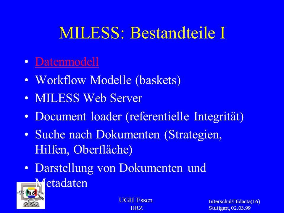 UGH Essen HRZ Interschul/Didacta Stuttgart, 02.03.99 (16) MILESS: Bestandteile I Datenmodell Workflow Modelle (baskets) MILESS Web Server Document loa