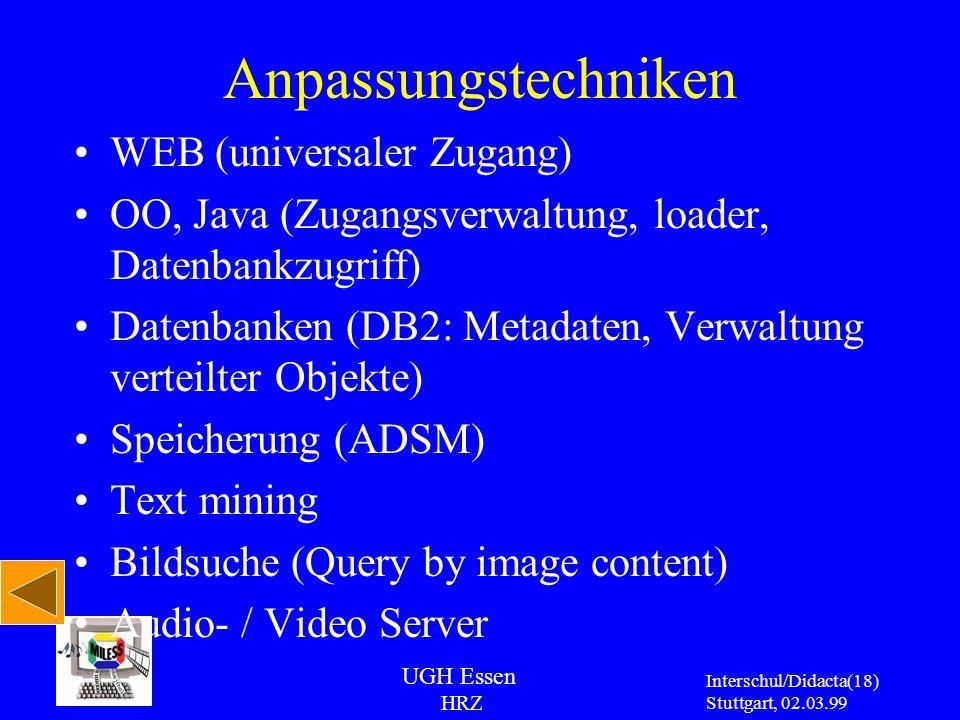 UGH Essen HRZ Interschul/Didacta Stuttgart, 02.03.99 (18) Anpassungstechniken WEB (universaler Zugang) OO, Java (Zugangsverwaltung, loader, Datenbankz