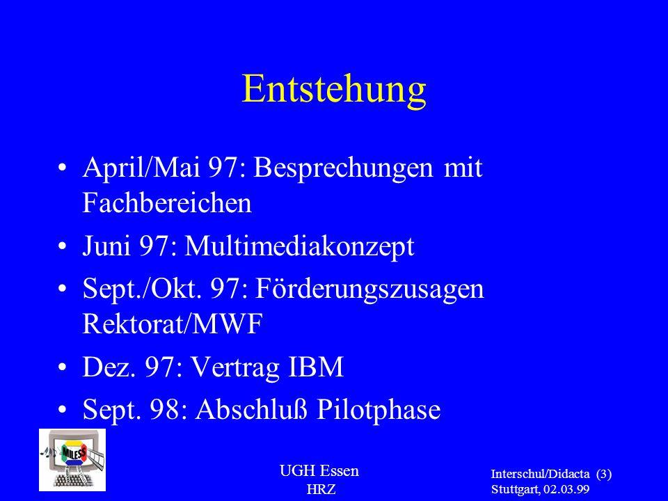 UGH Essen HRZ Interschul/Didacta Stuttgart, 02.03.99 (3) Entstehung April/Mai 97: Besprechungen mit Fachbereichen Juni 97: Multimediakonzept Sept./Okt