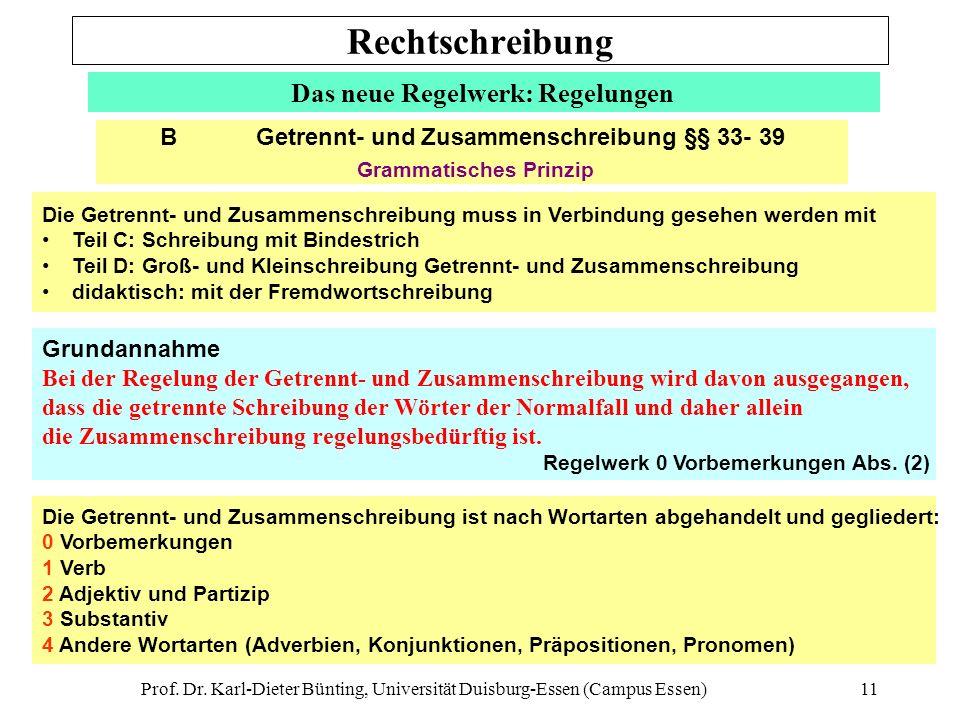 Prof. Dr. Karl-Dieter Bünting, Universität Duisburg-Essen (Campus Essen)11 Das neue Regelwerk: Regelungen Die Getrennt- und Zusammenschreibung muss in