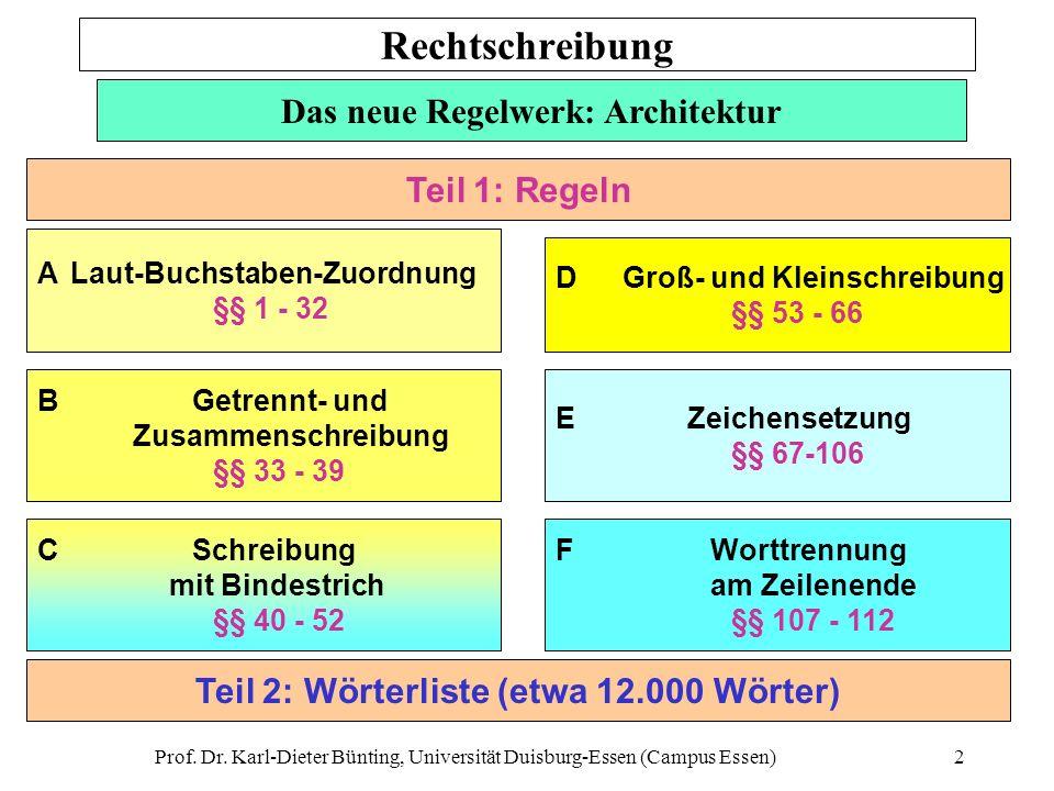 Prof. Dr. Karl-Dieter Bünting, Universität Duisburg-Essen (Campus Essen)2 Das neue Regelwerk: Architektur A Laut-Buchstaben-Zuordnung §§ 1 - 32 B Getr