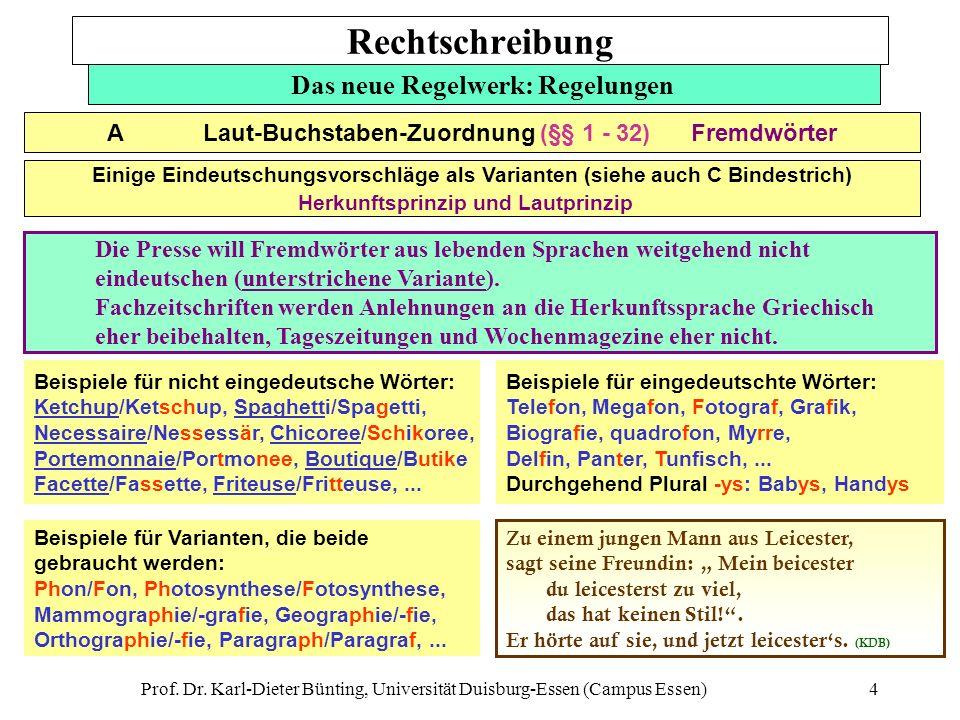 Prof. Dr. Karl-Dieter Bünting, Universität Duisburg-Essen (Campus Essen)4 Das neue Regelwerk: Regelungen Beispiele für nicht eingedeutsche Wörter: Ket