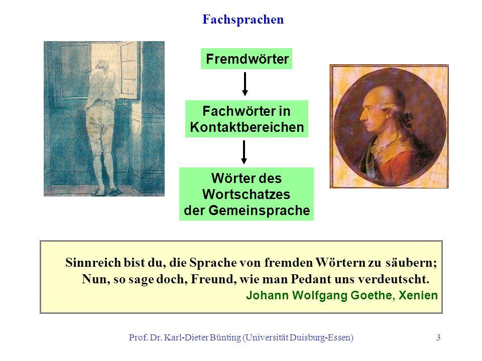 Prof. Dr. Karl-Dieter Bünting (Universität Duisburg-Essen)3 Sinnreich bist du, die Sprache von fremden Wörtern zu säubern; Nun, so sage doch, Freund,