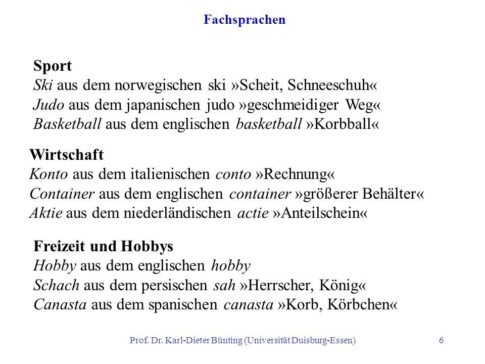 Prof. Dr. Karl-Dieter Bünting (Universität Duisburg-Essen)6 Fachsprachen Sport Ski aus dem norwegischen ski »Scheit, Schneeschuh« Judo aus dem japanis