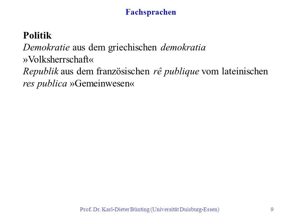 Prof. Dr. Karl-Dieter Bünting (Universität Duisburg-Essen)9 Fachsprachen Politik Demokratie aus dem griechischen demokratia »Volksherrschaft« Republik