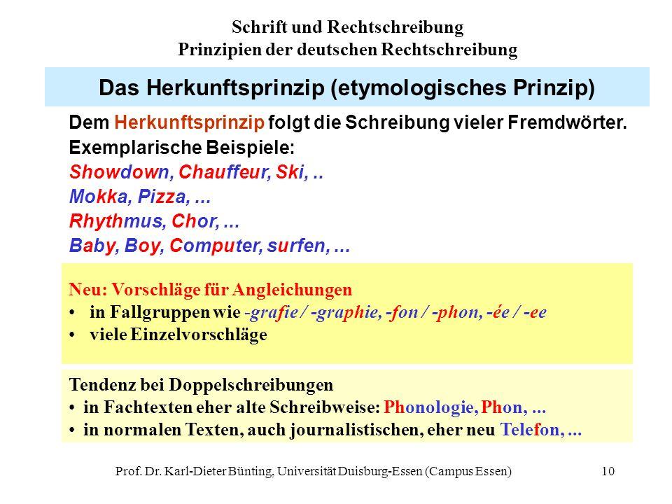 Prof. Dr. Karl-Dieter Bünting, Universität Duisburg-Essen (Campus Essen)10 Das Herkunftsprinzip (etymologisches Prinzip) Dem Herkunftsprinzip folgt di