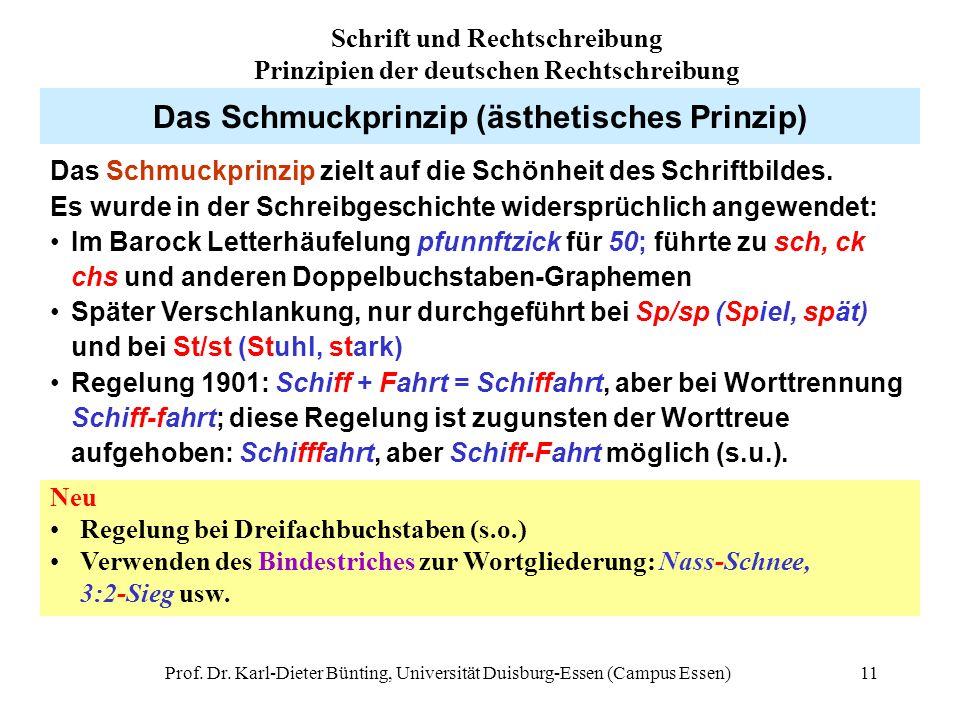 Prof. Dr. Karl-Dieter Bünting, Universität Duisburg-Essen (Campus Essen)11 Das Schmuckprinzip (ästhetisches Prinzip) Das Schmuckprinzip zielt auf die