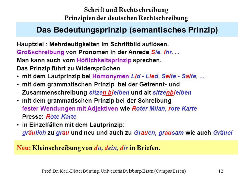 Prof. Dr. Karl-Dieter Bünting, Universität Duisburg-Essen (Campus Essen)12 Das Bedeutungsprinzip (semantisches Prinzip) Hauptziel : Mehrdeutigkeiten i