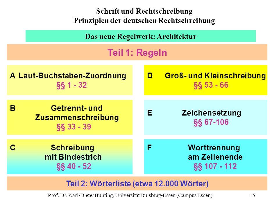 Prof. Dr. Karl-Dieter Bünting, Universität Duisburg-Essen (Campus Essen)15 Das neue Regelwerk: Architektur A Laut-Buchstaben-Zuordnung §§ 1 - 32 B Get