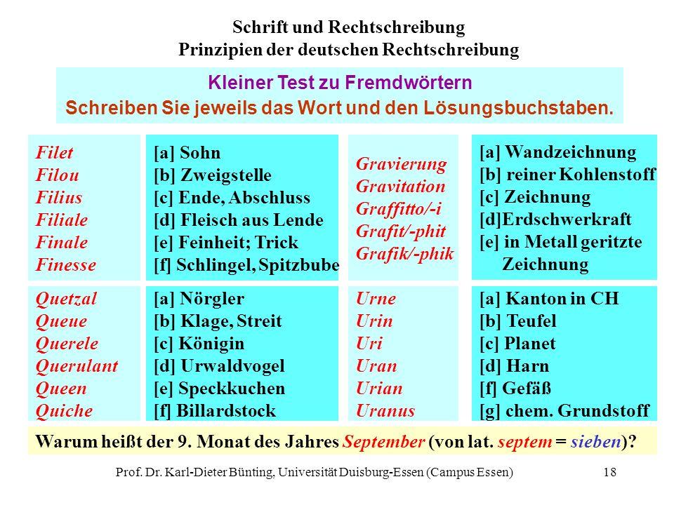 Prof. Dr. Karl-Dieter Bünting, Universität Duisburg-Essen (Campus Essen)18 Filet Filou Filius Filiale Finale Finesse [a] Sohn [b] Zweigstelle [c] Ende