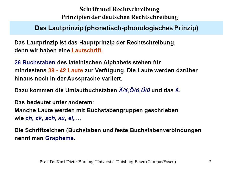 Prof. Dr. Karl-Dieter Bünting, Universität Duisburg-Essen (Campus Essen)2 Das Lautprinzip (phonetisch-phonologisches Prinzip) Das Lautprinzip ist das