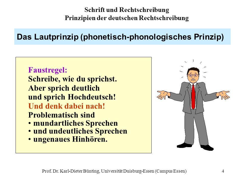 Prof. Dr. Karl-Dieter Bünting, Universität Duisburg-Essen (Campus Essen)4 Das Lautprinzip (phonetisch-phonologisches Prinzip) Faustregel: Schreibe, wi
