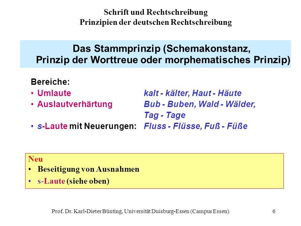 Prof. Dr. Karl-Dieter Bünting, Universität Duisburg-Essen (Campus Essen)6 Das Stammprinzip (Schemakonstanz, Prinzip der Worttreue oder morphematisches
