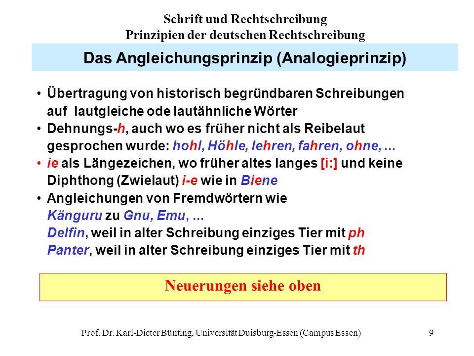 Prof. Dr. Karl-Dieter Bünting, Universität Duisburg-Essen (Campus Essen)9 Das Angleichungsprinzip (Analogieprinzip) Übertragung von historisch begründ